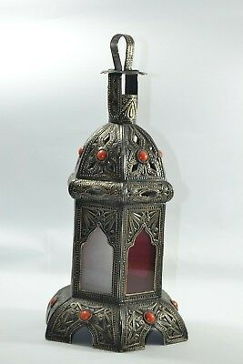 Arabic original lantern candle light color glass islamic engraved hand carved