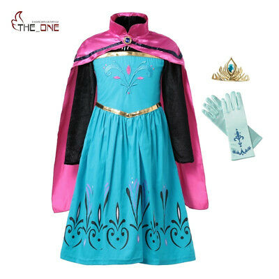 Girl Snow Queen Embroidery Anna Princess Party Cosplay Costume with Cloak