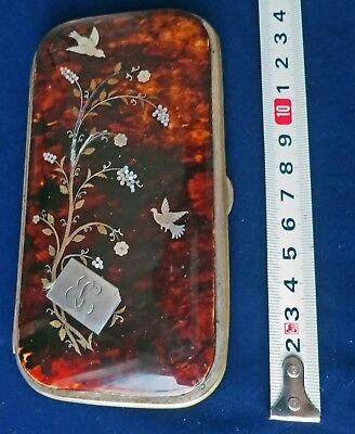 *Beautiful Antique FAUX TORTOISE SHELL INLAID VISITING CALLING CARD CASE.
