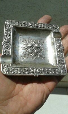 Vintage Silver 800 Ashtray With Roses Art Deco