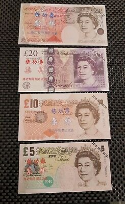4 x UK/Chinese teaching Banknotes. £50/£20/£10/£5 notes, Not Legal Tender.