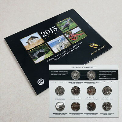 2015 D P America The Beautiful Quarters Uncirculated 10 Coin Collector Set RAQ15