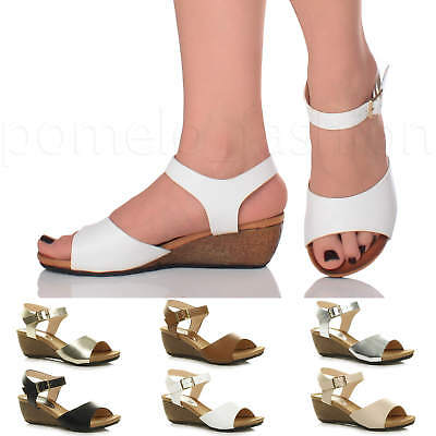 0490abbcc975 Womens Ladies Low Mid Wedge Heel Ankle Strap Work Summer Evening Sandals  Size