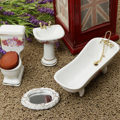 1:12 Dollhouse Ceramic Furniture Miniature Bathroom Life Scenes Decor 4 pcs