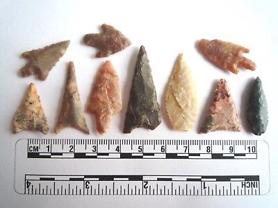 Neolithic Arrowheads x 10, High Quality Selection of Styles - 4000BC - (2462)