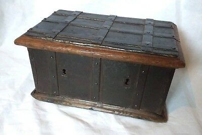 Small Rare 16th Century Iron Bound Oak Church Box c1550