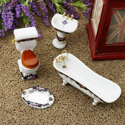 4Pcs Ceramic Bathroom Furniture Set 1/12 Dollhouse Miniature Accessories #3