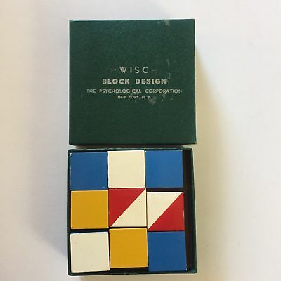 WISC BLOCK DESIGN Wechsler Intelligence Scale For Children NY Vintage