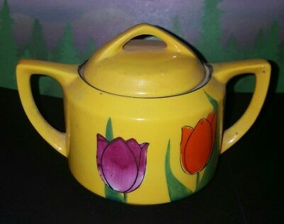 Okwan China mini sugar bowl yellow tulips with lid Made in Japan hand painted