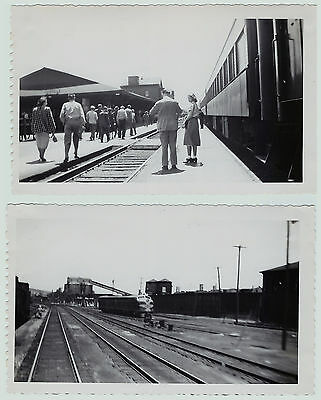 PHOTO  Lot of  2 - Railroad Depot Station & area - Hornell NY - 1950 Train Erie