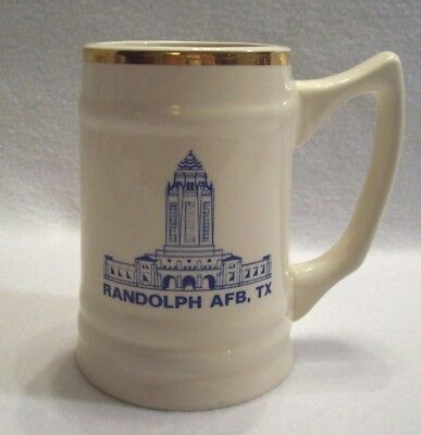 Randolph AFB Texas Ceramic Beer Stein Tankard Ivory 22K Gold Rim Collectible