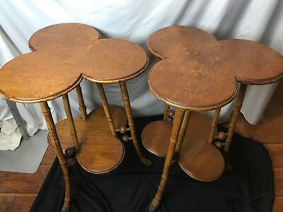 Pair Clover Leaf Parlor Side Tables Bamboo legs Hugh Miller Co. AS IS