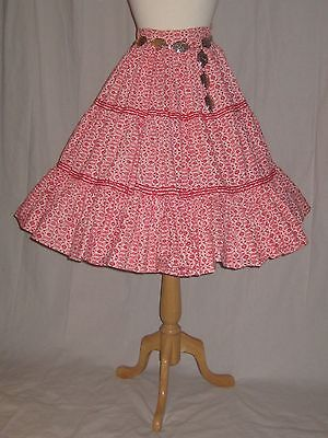 Vintage 1950s Circle Skirt Flower Sack? Cotton Square Dance Rockabilly Small