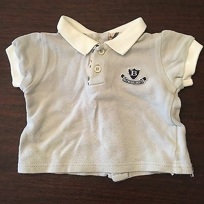 Authentic Burberry Polo Shirt With Logo And Classic Print - Size 3M Infant