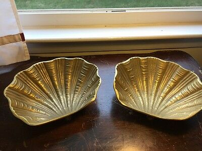 Brass Clam Shell trinket footed dish pair