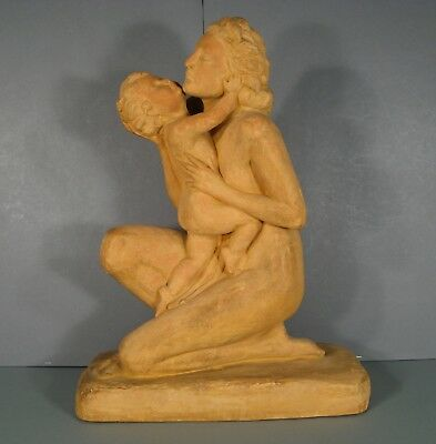 Naked Woman With'large Child Sculpture Antique Terracotta Signed Ugo Cipriani