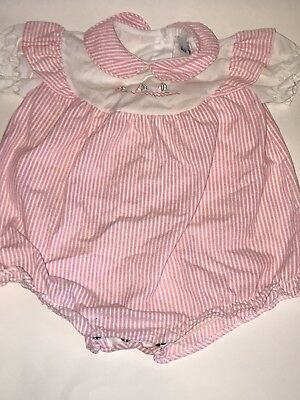 Vintage ALEXIS Seersucker Pink White Striped Stripes Sailboat Baby Girl ROMPER
