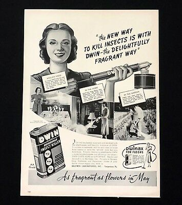 1940 DWIN Insect Killer Advertisement Bug Spray Gun Fragrant Vintage Print AD
