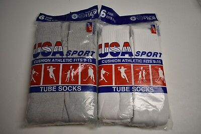 6 Or12 Pair Usa Cotton Athletic Tube Socks Gray Or White Mens Size 9-15