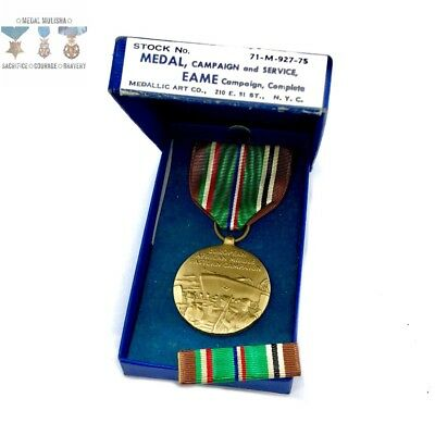 Wwii Us Navy European African Middle Eastern Campaign Medal Ribbon Bar Box Ww2