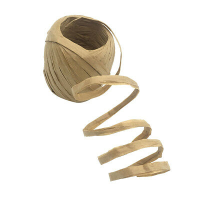 Paper Light Brown Raffia Ribbon Wrapping Flowers Craft DIY Wire & Cord 20m