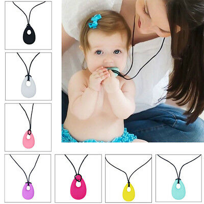 Kids Baby Chewy Necklace Anti Autism Biting Sensory Chew Teething Toys AU Ship