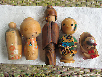 GROUP OF  KOKESHI DOLLS. 13cm - 31cm..... Ringwood Nth, Vic.