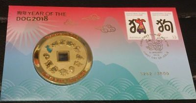 2018 Year of the Dog Stamp and Medallion Cover - 3282/3500