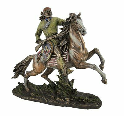 """Top Collection 12"""" Native American Warrior, Geronimo, Going to Battle Statue in"""