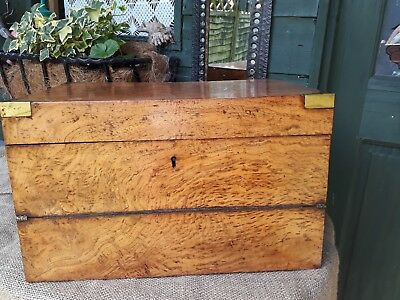 SUPERB 19th/Early 20th Century - Pollard Oak Brass bound Campaign Writing Slope