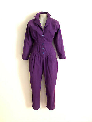 Vintage 1980s purple jumpsuit with button front and gathered waist