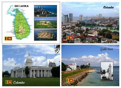 AK Sri Lanka Country Map Colombo Galle Fort UNESCO Lighthouse New Postcard