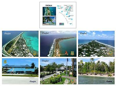 AK Tuvalu Country Map Fongafale Funafuti Airport Runway New Postcard