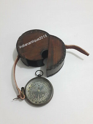 Vintage  Antique Brass  Compass Nautical Decor With Leather Box Gift Item