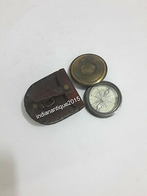 Vintage  Antique Brass Compass Nautical With  Leather A Gift Box Compass
