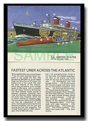 SS United States Lines Atlantic cut-away framed picture Leslie Ashwell Wood