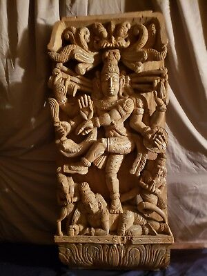Antique Hand Carved Shiva Wall Plaque