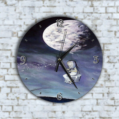 Girl Moon Painting Stars - Home Deco Decor Kitchen Living Room Office Wall Clock