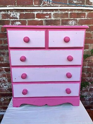 Childrens Chest Of Drawers, Wooden Set Of Drawers, Victorian Style, Pink Drawers