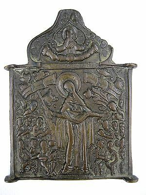 Antique 18th Russian Orthodox Brass icon Mother of Good Joy of All