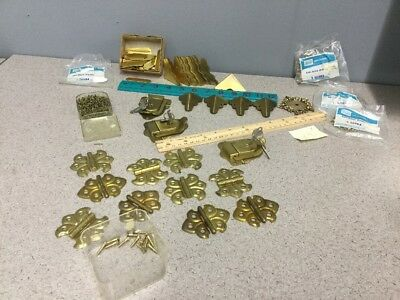 Outstanding Vintage NOS Solid Brass Hardware Lot Furniture.