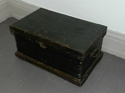Antique Victorian Pine Blanket Box Wooden Chest Trunk Original Distressed Paint
