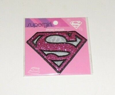 Supergirl Mattalic Pink Gray Logo Embroidered Iron On Patch 2 7 8 NEW