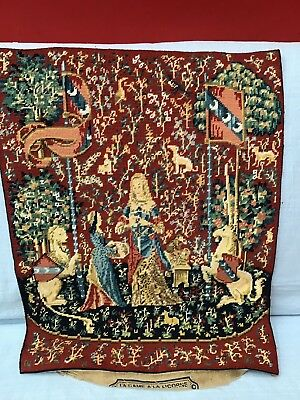 Medieval French Hand Made Wool  Needle Point Tapestry - THE LADY & THE UNICORN