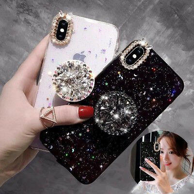 Bling Glitter Diamond Holder Sparkle Case Cover for iPhone 8 7 Plus X XS MAX Xr