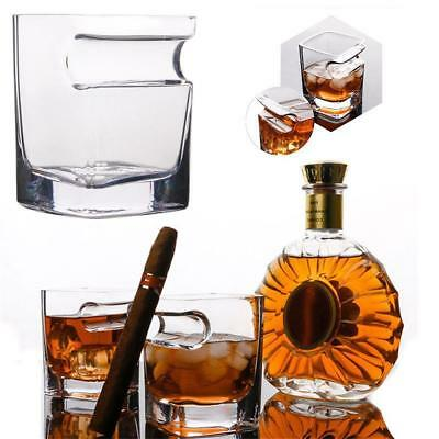 2x Wiskey Glass Cup With Cigar Holder Groove Rack Wine Mug for Home Bar Kitchen