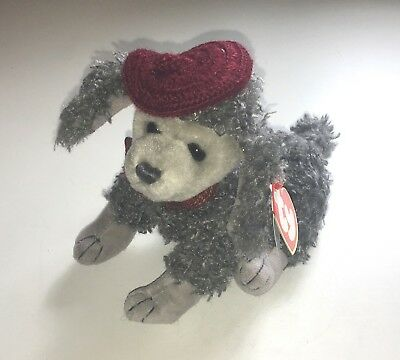 Ty Beanie Babies Cheri Puppy Gray Poodle Dog Plush Toy Jointed Movable Legs NWT