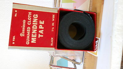 Vintage deco Box* Dennison* Gummed Cloth Mending Tape-black 1 1/4 inch & 9 yards