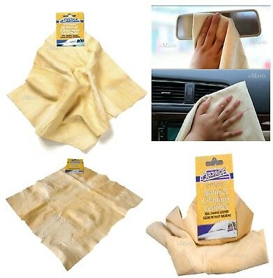 Car Chamois Leather Natural Genuine Real  Drying Shammy Chammy Cleaning Cloth