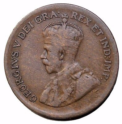 1929 Canada Small Copper One Cent Low 9 Variety King George V